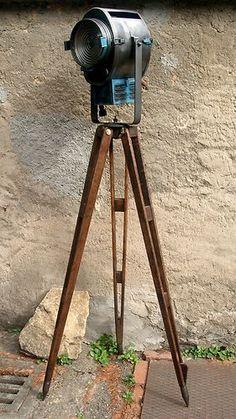 French industrial movie theatre spotlight CREMER on wooden tripod | eBay