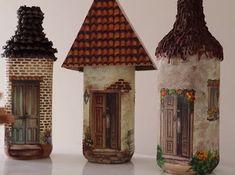 casitas-con-botellas Diy Crafts To Do, Glue Crafts, Pasta Flexible, Ideas Para, Gazebo, Decoupage, Stencils, Backdrops, Lily