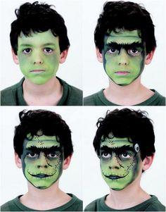 halloween-makeup-ideen-kinder-frankenstein-anleitung-junge-schminken