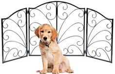 """Indoor/Outdoor Arched Scroll Metal 3 Panel Pet Gate - Expands from 24"""" to 48' *** (paid link) Check this awesome product by going to the link at the image."""
