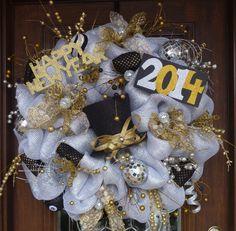 30 Deluxe Deco Mesh NEW YEAR'S WREATH by decoglitz on Etsy
