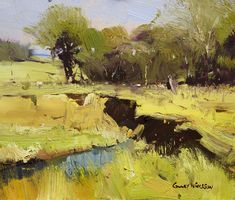 Colley Whisson . Masterful use of the brush stroke to establish form and edge all the time keeping it fresh with confidently placed swishes....marvelous neutralized greens