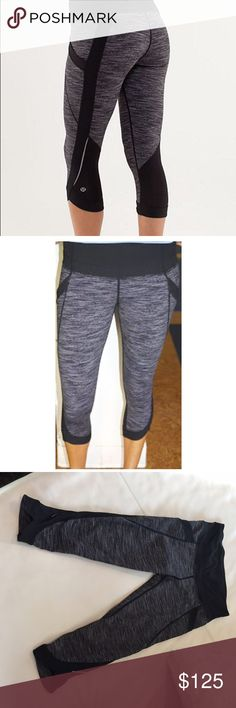 Lululemon Run: Chase Me Crops - Size 6 Lululemon Run: Chase Me Crops - MINT Condition!  Color: Wee Are From Space - Black (Highly Coveted and SOLD OUT within minutes!)  Size: 6 (Small). Only worn 2 times and in PERFECT condition! lululemon athletica Pants Capris