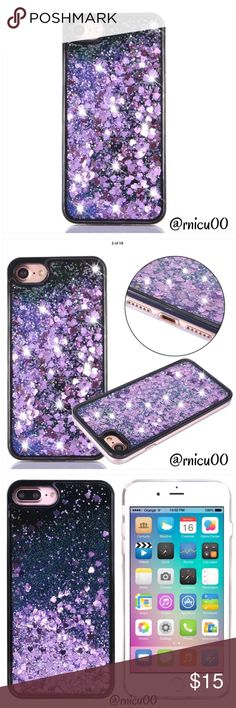 """Purple Liquid Heart Glitter Hardback iPhone Case • Fits iPhone 7 • 3D Liquid Glitter Quicksand  • Shockproof Hard Case Cover • Fitted case- Protects Phone from scratches, damage, dust & dirt • Access to all Buttons without removal   ➖Prices Firm, Bundle for Discount ➖""""Trade"""" & Lowball Offers will be ignored ➖Sales are Final, Please read Description & Ask Any Questions! Boutique Accessories Phone Cases"""