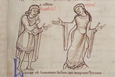 Terence's Comedies, St. Albans Abbey, mid 12th century, Folio 10 recto: See her knee length sleeves, tight waist, and round neckline. She is not wearing a belt. Notice that his bliaut is tight waisted but only knee length. It has tight sleeves. Her sleeves begin to widen above the elbow and come to points at the bottom in contrast to the square french sleeves. Both have geometric trim at the neckline and hem.