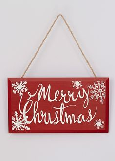 Merry Christmas Sign (25cm x 14cm) - Matalan