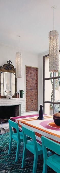 "Belgian decorator Christophe Decarpentrie's dining room at ""Le Bastion"", his home, in Taroudant, Morocco"