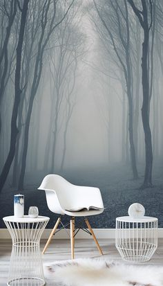 Get lost in the woods with this eerily beautiful forest mural. Hazy greys help to create a dream-like feel to your home, and delivers a neutral yet calming colour scheme. Compliment with white furnishings and fabrics to complete the look. Look Wallpaper, Forest Wallpaper, Trendy Wallpaper, Bedroom Wallpaper, Wallpaper Murals, Wallpaper Ideas, Feature Wall Bedroom, Wall Murals Bedroom, 3d Wall Murals