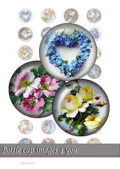 bottle cap images - vintage flowers - 1 inch circles for paper crafts, resin jewelry, bottle caps. Digital Collage Sheet