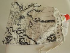 Map of the world linen wash bag by drawastring on Etsy, $10.00