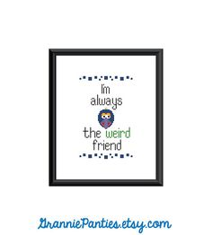 8X10 PDF counted cross stitch pattern Gonzo Im by granniepanties, $6.00