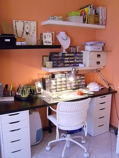 Perfect space to create my beautiful handmade jewelry, while keeping it neat and. Perfect space to create my beautiful handmade jewelry, while keeping it neat and organized! Craft Room Design, Craft Room Decor, Jewelry Store Design, Small Craft Rooms, Space Crafts, Craft Space, Bead Storage, Making Space, Home Office Decor