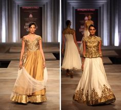 India Bridal Fashion Week 2013 Shantanu Nikhil gold ivory gown lengha
