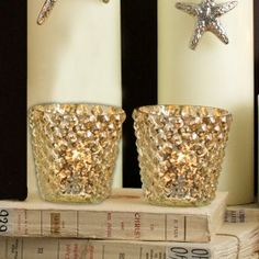 Set of 2 Small Glass Mercury Gold Bubble Tea Light Holders - £4.95