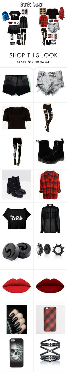 """grunge fashion"" by sbaez-2 on Polyvore featuring Glamorous, Ted Baker, Dr. Martens, Zara, Rails, Yves Saint Laurent, Bling Jewelry, J.Crew, Metal Mulisha and Eva Fehren"