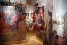 The layered effect of scrims used in exhibition design