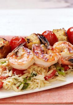 Shrimp Bruschetta with Orzo Pasta – Garlic, tomatoes, bread and olive oil create a bruschetta-style shrimp and orzo pasta dish that will win rave reviews from the backyard BBQ crew.