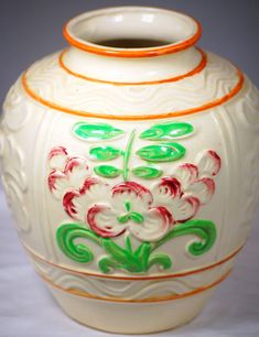 Mid Century Made in Japan Art Pottery Hand Painted Vase With Floral Design