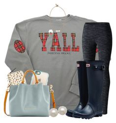 """""""my life is falling apart, but I look kinda cute today so """" by annagraceshep ❤ liked on Polyvore featuring Columbia, Hunter, Kate Spade, Casetify, Dooney & Bourke, Lead and Honora"""