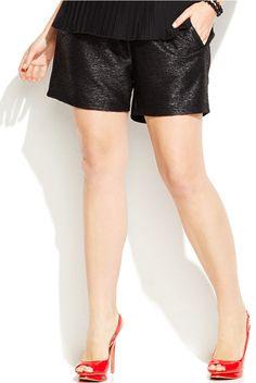 Junarose Plus Size Faux-Leather-Trim Crepe Shorts Get Glam, Vintage Inspired Fashion, Plus Size Shorts, Sport Shorts, Short Dresses, Passion, Womens Fashion, Leather, Style