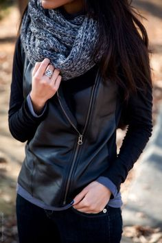 #fall #fashion / leather jacket + knit scarf