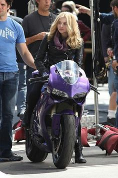love the color of the bike.  [Chloe Moretz (Hit Girl) on the set of Kick Ass 2 oh man oh man :) ]
