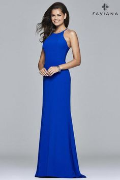 Faviana style S7913 is for the girl who is on trend but likes to keep it elegant and simple This style would look amazing on a pear-shaped body The horizontal straps across the side cut-outs show just a touch of skin and the fit and flare skirt drapes over your curves This adorable crepe dress   Faviana Glamour