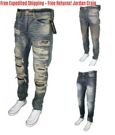 550d7078697 Men's Jordan Craig Jeans Legacy Edition Jean Premium Ripped Zippers  Zippered New
