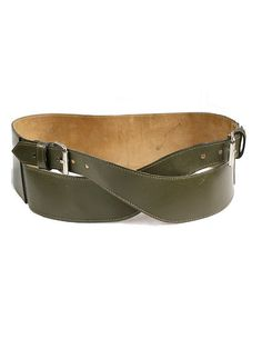 80s WIDE LEATHER BELT  olive green leather  by lesclodettes