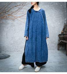 Бесплатная доставка 2018 Новые Модные свободные прямые джинсовые платья Для женщин длинные до середины икры Большие размеры S XL цельный китайский Стиль платья для женщин купить на AliExpress