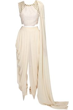 Ivory embellished drape crop top with ivory drape skirt available only at Pernia's Pop Up Shop.