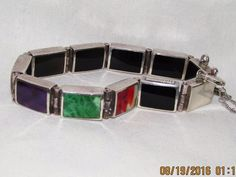 "Estate Sterling Silver Black Onyx Reversible Multi-Stone Link Bracelet 7"" 39.44g…"