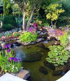 Modern Diy Garden Pond Waterfall Ideas For Backyard 43 - Garden Design Ideas 2019 Outdoor Ponds, Ponds Backyard, Outdoor Gardens, Backyard Waterfalls, Garden Ponds, Outdoor Fountains, Backyard Ideas, Water Fountains, Garden Path