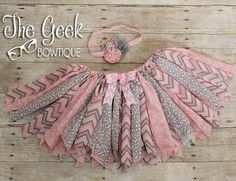 Fabric Tutu  Scrappy Skirt Pink & Grey by TheGeekBowtique on Etsy, $33.00