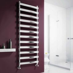 The Reina Deno Stainless Steel Heated Towel Rail is a great example of modern innovation. An angular body is adorned by either a polished or satin finish, making it the perfect addition to your contemporary bathroom. #heatedtowelrails