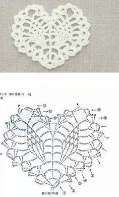 Crochet Heart patron y modelo Crochet Leaves, Crochet Motifs, Crochet Snowflakes, Crochet Diagram, Freeform Crochet, Crochet Chart, Thread Crochet, Crochet Doilies, Crochet Flowers