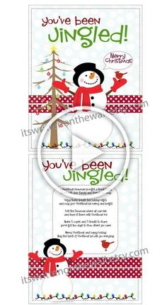 Christmas Youve Been Jingled Printable and Tags plus Tutorial for Cute Ornament/Treat holder Neighbor Gifts Diy Christmas Gifts For Family, Christmas Tag, Christmas Decorations To Make, Christmas Crafts, Holiday Decor, Treat Holder, Neighbor Gifts, Merry And Bright, Clever Diy