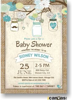 Burlap Rustic Baby Boy Shower Invitation, Mason Jar Baby Boy Shower Invites, Mason Jar, Shabby Chic, Blue, Digital Printable DIY invite 68 by 800Canvas on Etsy