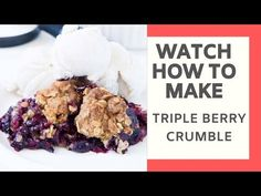 The easiest triple berry crumble, made with frozen fruit! Thickened frozen berries topped with an oat crumble topping. Ready in 10 minutes! Oat Crumble Topping, Fruit Crumble, Crumble Recipe, Apple And Berry Crumble, Fruit Scones, Healthy Oatmeal Breakfast, Food Wishes, Fruit Recipes, Recipies