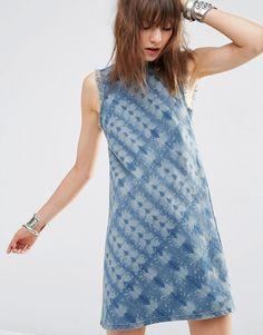 Image 3 ofASOS Denim Shift Dress in Tie Dye Print