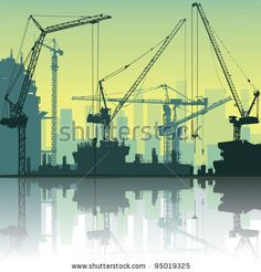 Lots of Tower Cranes on Construction Site with Reflection in Water - stock vector