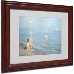 Trademark Fine Art Boys on the Seashore in a Summer Night Canvas Art, Wood Frame, Size: 16 x 20, Multicolor