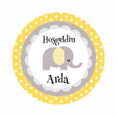 Sarı Puantiyeli Filli Bebek  Etiketi 24 Adet SRFİL0001