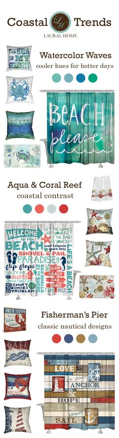 Coastal inspiration for the summer! Define your house's coastal character with one of three stylish collections from Laural Home.