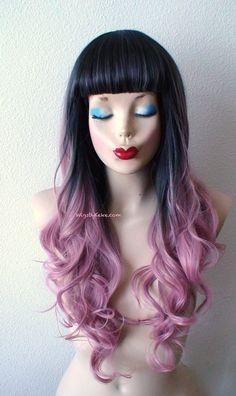 Pastel pink wig. Pink Ombre wig. Mauve Pink wig. Long by kekeshop