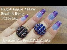 Right Angle Weave Beaded Ring Tutorial Seed Bead Jewelry, Wire Jewelry, Jewelry Crafts, Beaded Jewelry, Beading Tutorials, Beading Patterns, Diy Beaded Rings, Beaded Angels, Right Angle Weave