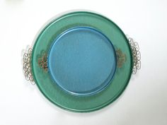 Large Green and Smaller Blue Kyes Moire Glaze Tray by BYBEEVINTAGE