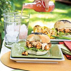Shrimp Burgers With Sweet 'n' Spicy Tartar Sauce Recipe | MyRecipes.com.....Recipes for shrimp burgers, a favorite food of Southern shrimping towns, are often a big secret. Here we divulge our version, which is chunky and spicy with some Cajun flair.