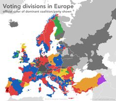 """Voting divides in Europe. See Poland and Romania in detail. [[MORE]] atrubetskoy: The idea for this came from the American concept of """"red states"""" and """"blue states"""". In Europe, things are obviously a..."""