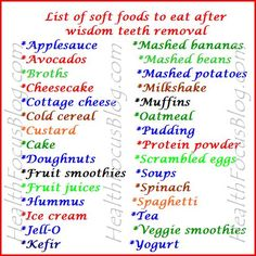 Foods to eat after wisdom teeth removal - ImPane Wisdom Teeth Removal Food, Wisdom Teeth Food, What To Eat After Wisdom Teeth Removal, List Of Soft Foods, Soft Foods To Eat, Eating After Tooth Extraction, Dental Extraction, Teeth Surgery, Oral Surgery